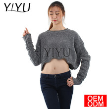 lady round neck long sleeves crop top sweater woman sexy loose knitted sweater
