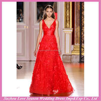 HE9466 Hot selling made in China hot red deep V neckline handmade flowers bodice prom dress long dresses evening