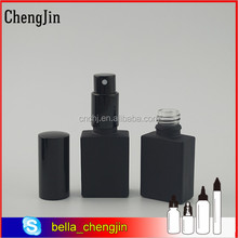 French market 15ml 30ml 50ml square frosted black glass bottle with dropper for perfume and e liquid