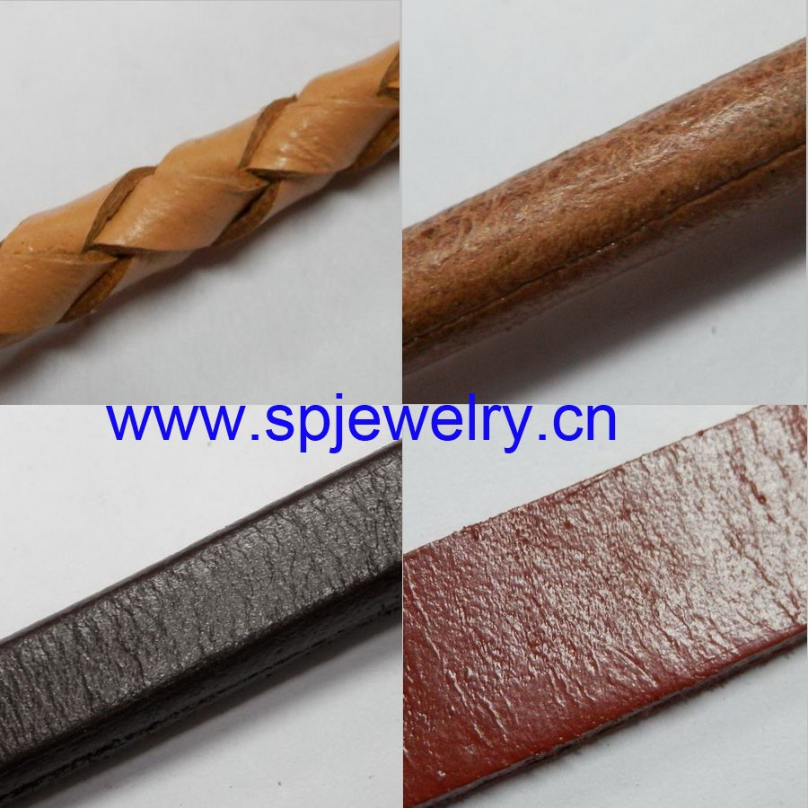 flat leather cord 3mm, many shapes and colors for choice