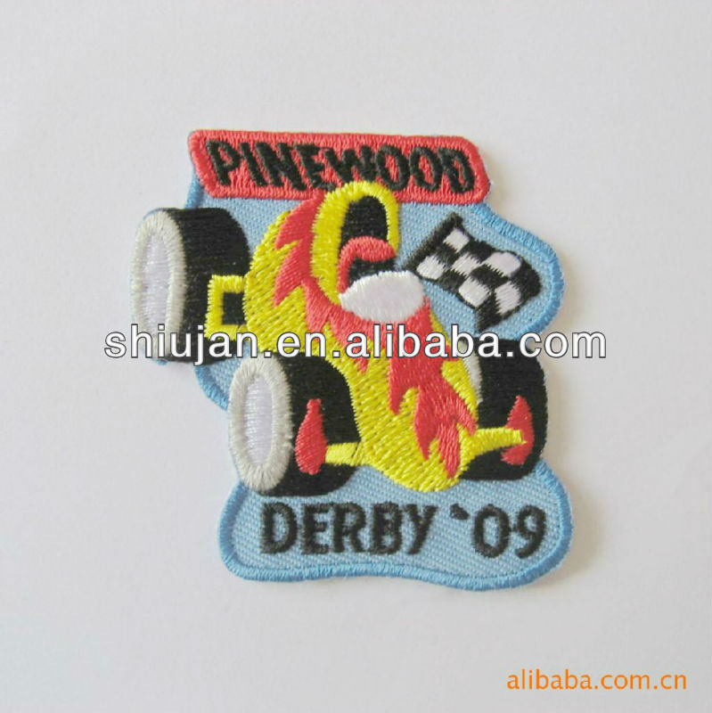 embroidered derby racing car logo patches /badges