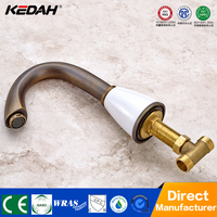 Hotel new style antique brass dual handle bathroom 2 hole basin mixer taps