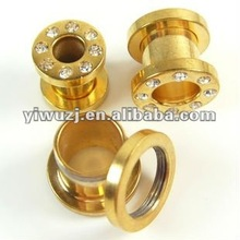fashion body jewelry Suppliers,anodized gold flesh tunnel with cz stone,2012 hot selling ear plugs