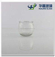 180ml electroplating ribbed glass candle holder for christmas ornament china supplier