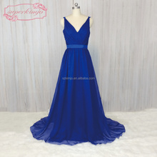 Royal Blue Chiffon Cheap Long Bridesmaid Dresses 2018 A Line Elegant Wedding Party Dresses