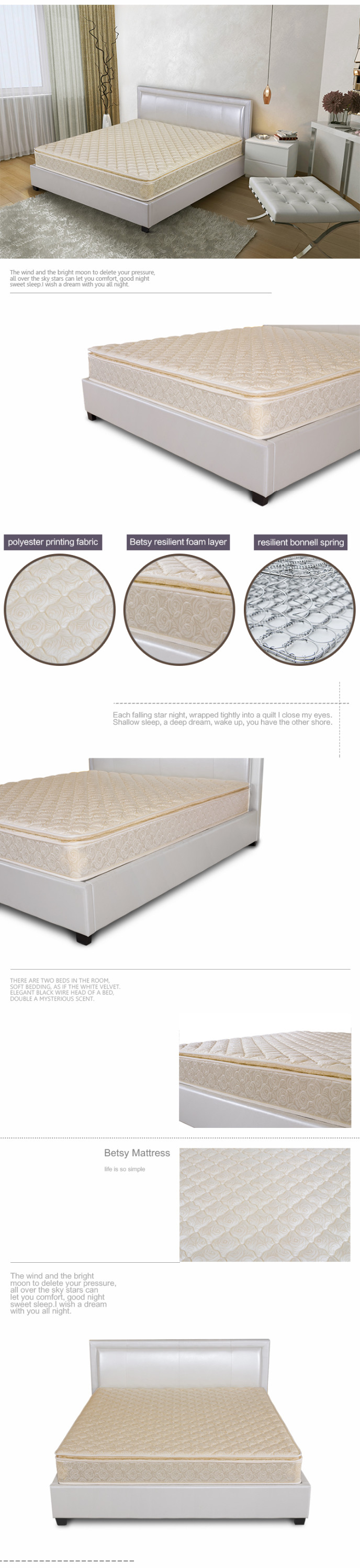 Luxurious jad and palm replacement diamond mattress prices with foam layer and bonnell spring - Jozy Mattress | Jozy.net