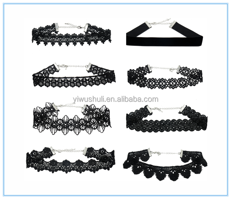 A combination of European and American fashion jewelry necklace Lace Necklace 8 designs a set of splitting the sale