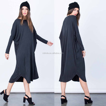 Online Shopping India Women Dresses Lightweight Stretchy Knit Fabric Round Neckline Long Sleeves Oversized Simple Midi Dress
