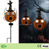 Halloween metal pumpkin led solar stake light for garden lawn decoration