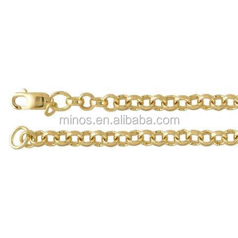 Hot Sale Factory Price 3.5mm Yellow Gold Plated Ladies Necklace Chain Stainless Steel Rolo Link Chain