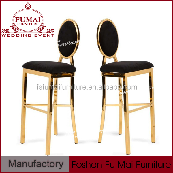 Gold stainless steel leather and fabric high italian bistro chair