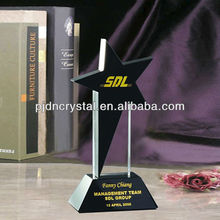 Hot sell Crystal Award in stock lot high quality black star trophy