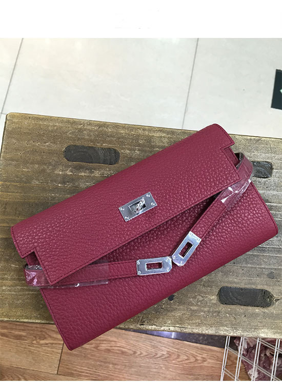 OEM high quality wine red women cowhide leather purse LR-W02-22