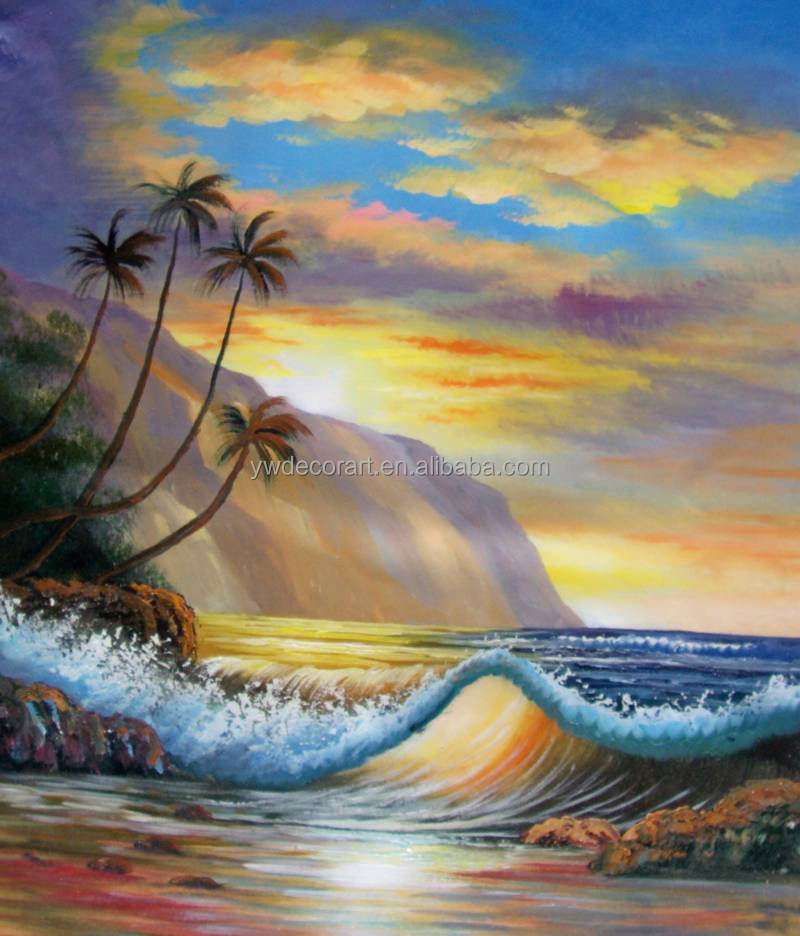 Wall Art Blue Sky and Coconut palm Seaside Canvas Seaside Oil Painting