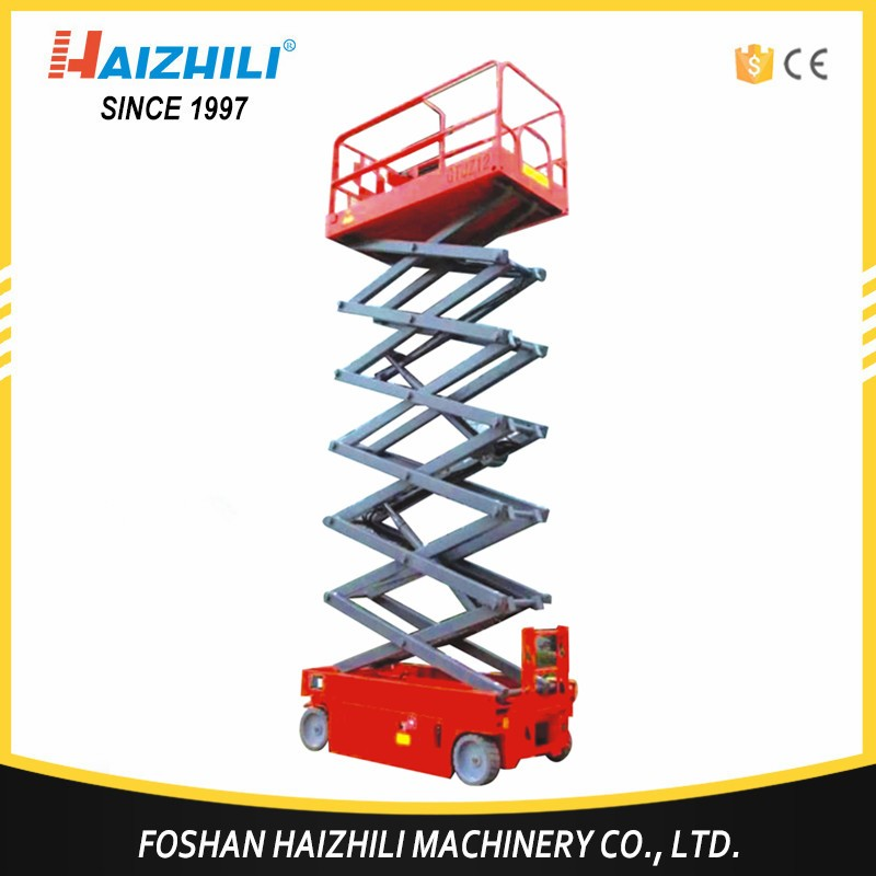Automatic self propelled 10m and 1 year warranty electric scissor lift platform