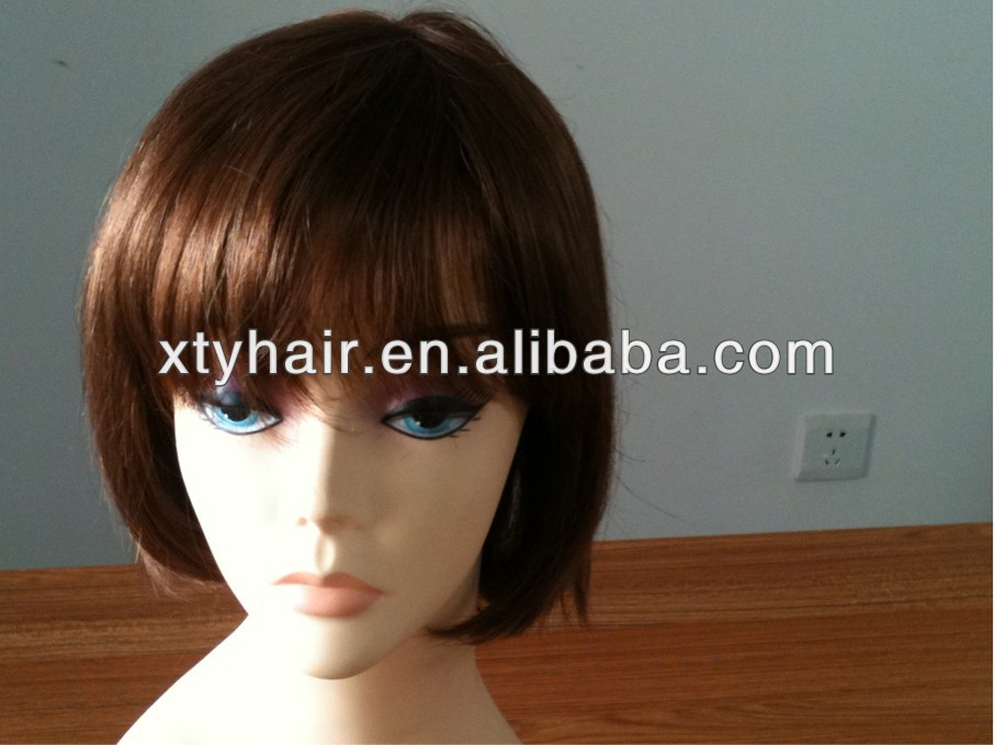 aliexpress hair 100% synthetic hair wig with fringe machine made brown color mono top soft PU welded breathing cap for women
