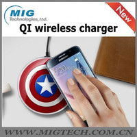 Avengers edition style Portable QI wireless chargers for mobile phone, captain america/ SHIELD/ superman/ batman all series