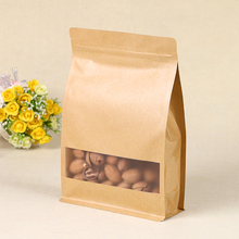 IN STOCK high quality food grade eight side sealing packaging bag kraft paper square bottom bag with window