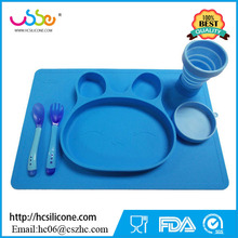 2017 hot selling Amazon and ebay Suction Bowl for kids Rabbit style Silicone Placemat