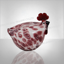 Wholesale Cheap Good Quality Glass Figurine Small White Glass Rooster With Red Pattern