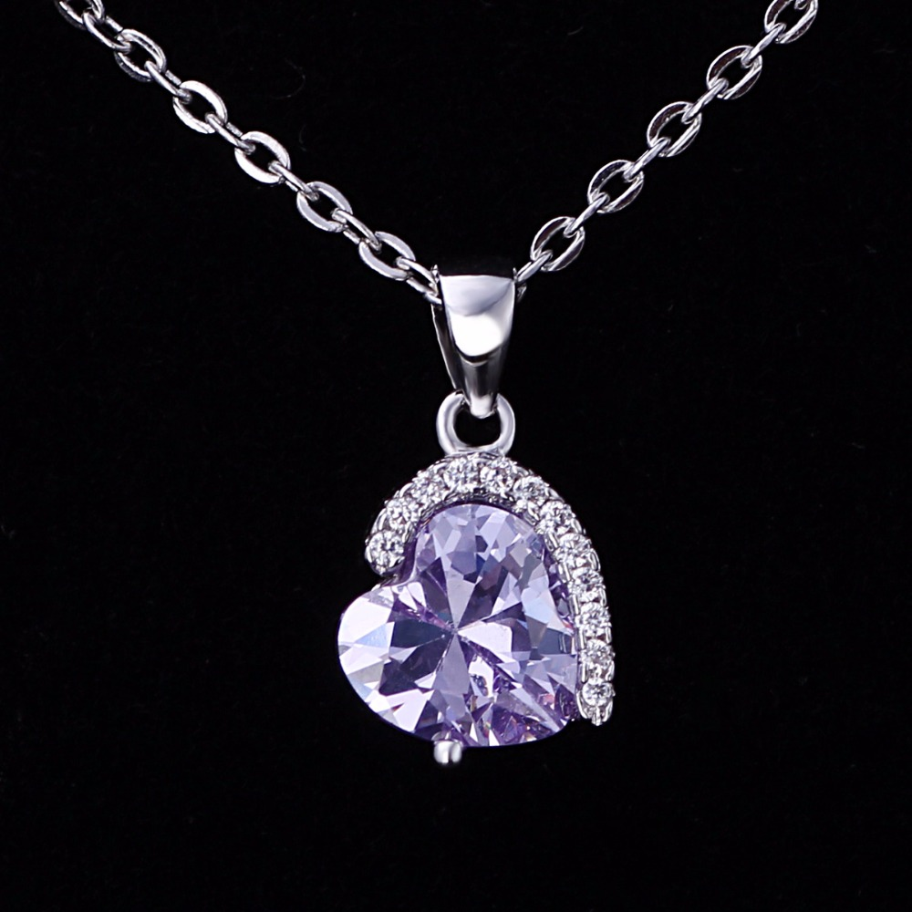 Fashion Beautiful Heart CZ Pendants Light Purple Heart Shaped <strong>Crystal</strong> With Diamond Silver Necklace