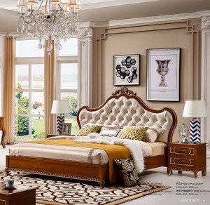 2017 Brown color solid wood Bedroom furniture
