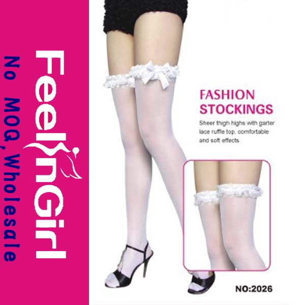 New Style White Sexy Lady's With White Bow Tube Stocking
