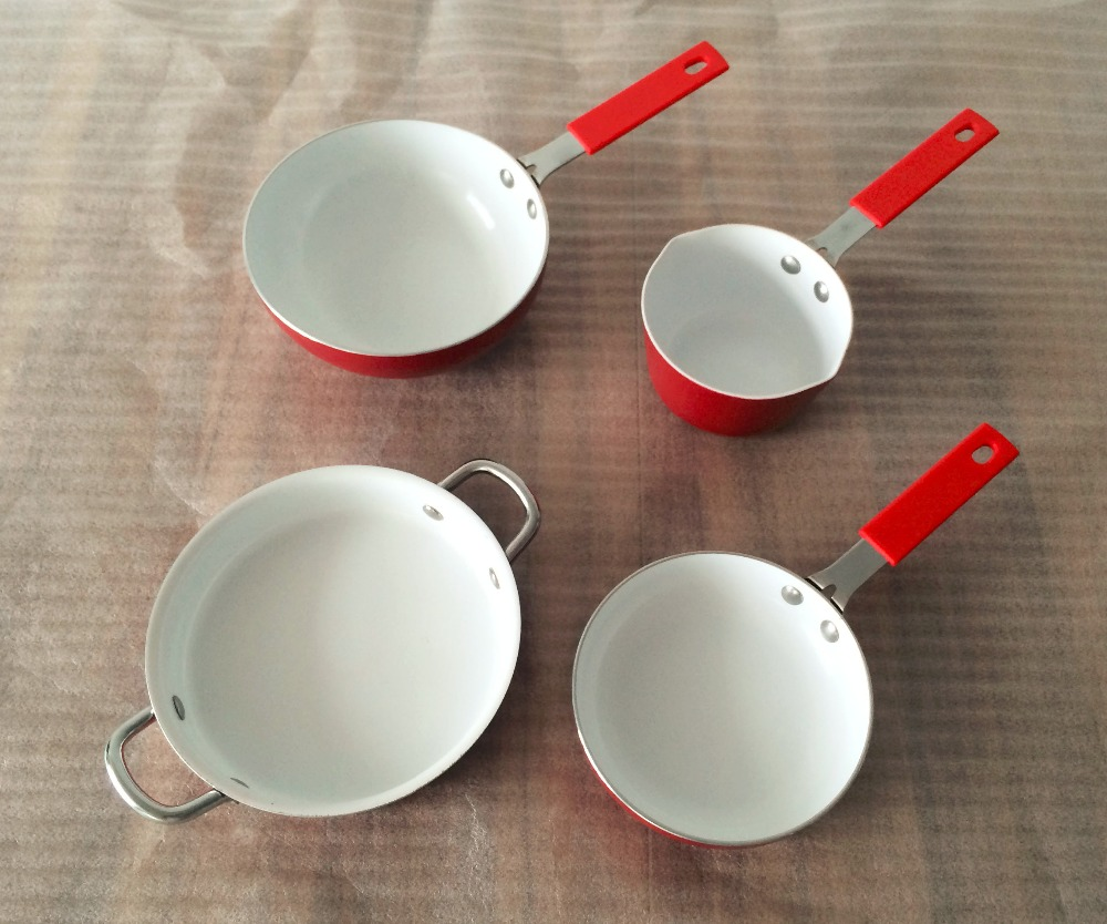 4 PCS Aluminum pressed cookware set /MINI cookware set with white ceramic coating/frypan/casserole/saucepan/wok