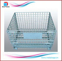 Perth wire mesh container, heavy duty steel pallet cage for valves, gears, pumps storage