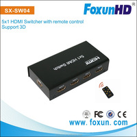 15m HDMI Switcher 5 X 1 TV BOX, support 1080p , 3D