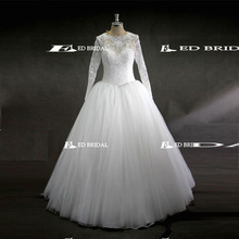 ED Bridal Real Picture Long Sleeve Round Neck Ball Gown White Tulle Muslim Wedding Dress