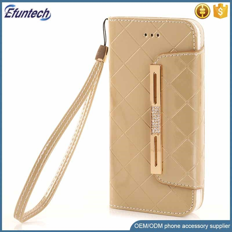 Bright PU leather lady wallet handbag mobile phone case for iphone 6s case