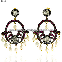 18k Yellow Gold Rose Cut Diamond Victorian Chandelier Earrings Jewelry, Precious Ruby Gemstone Designer Wholesale Earrings
