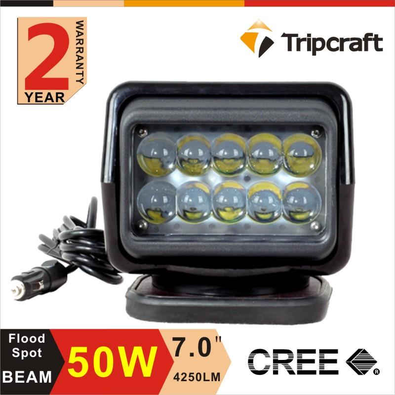 "7inch 7"" 50w off road Search Light with Remote Control Spot Light 50W Wireless Remote Led marine search light"