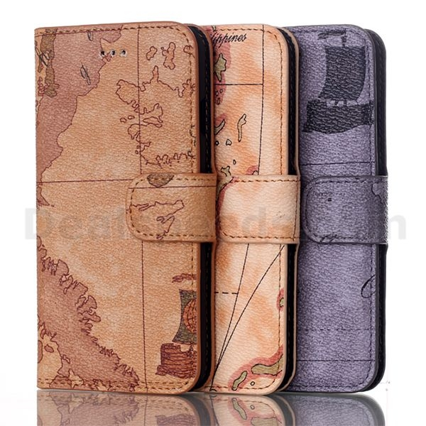 Earth World Map Wallet Stand Leather Stand Case Cover for iPhone 7 Case