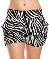 women knitted Zebra Print Harem Shorts with Pockets
