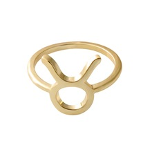 Hot sale new arrival custom tauru ring simple zinc alloy gold plated zodiac sign rings