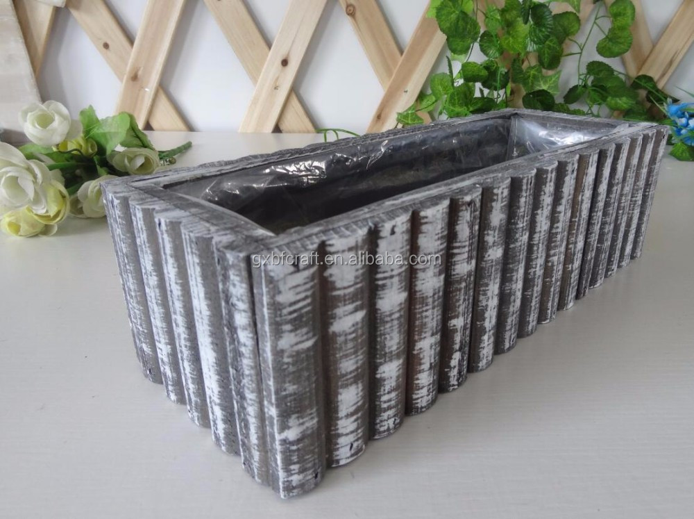 Wholesale Plastic Bag Inner Wooden Planter For Garden Home Decoration