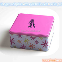 Square cookie tin box