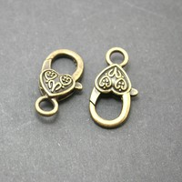 Wholesale-120pcs/lot Antique Bronze Plated Heart Lobster Clasp 14*27mm for Jewelry Making DH-FKA004-77