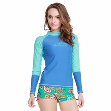 SBART New Long Sleeve Rashguard Swim Shirts Women Swim Surf T Shirt Rash Guards Swimwear Scuba Diving Skin Suit Lycra Upf J