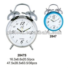 2015 New Round Style Metal Bell Double Table Clock with Light 2847