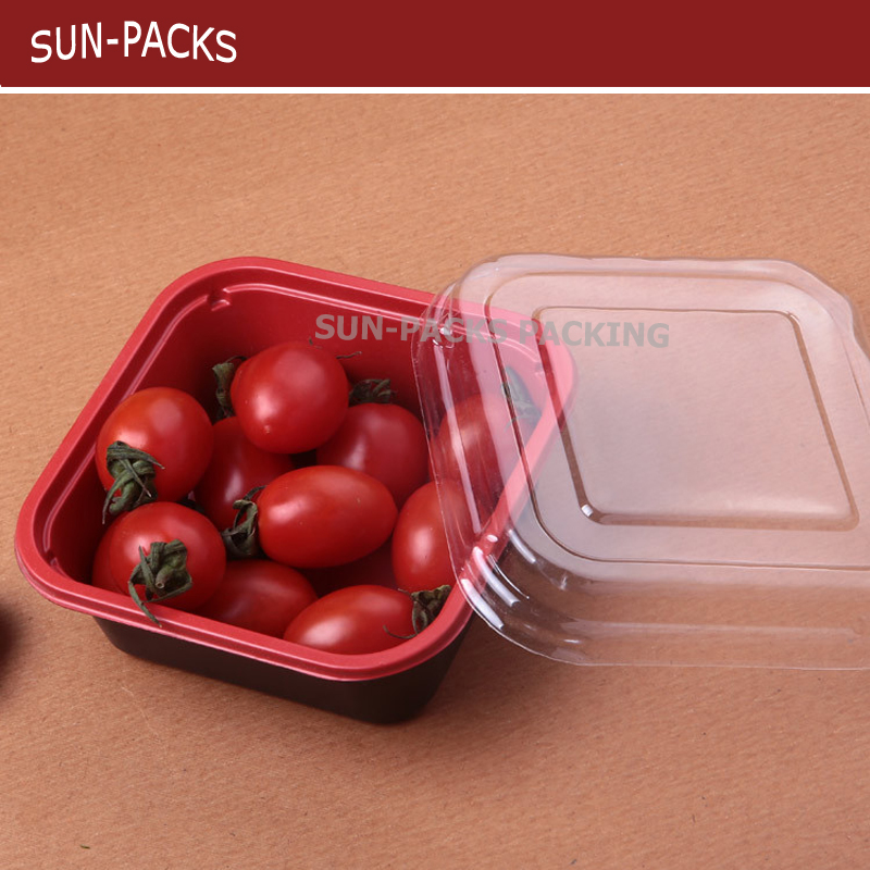 PVC PET PP plastic fruit clamshell tray packaging for vegetable/tomato/meat/food tray/container