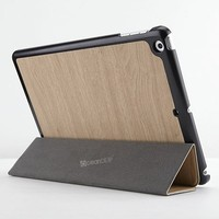 Stand leather case for ipad air smart cover wood case