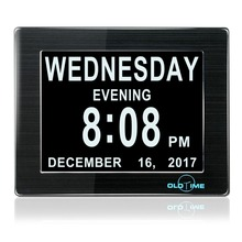 "8"" Digital Calendar Day Clock with Non-Abbreviated Day 5 Daily Alarms & 3 Medicine Reminder - Hurrah Extra-Large Memory Loss"