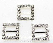 15MM square shape rhinestone ribbon buckle for wedding decoration BKL008