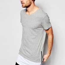 China Export American Fashion 100% Cotton Plain Longline Men t shirts With Cut Sew Hem