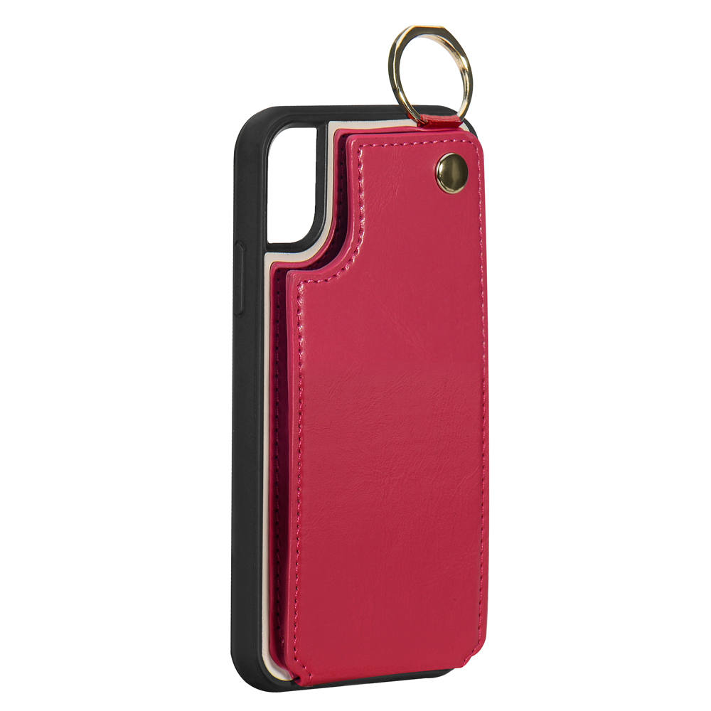 back case with rose red PU leahter card slots for iPhone 8