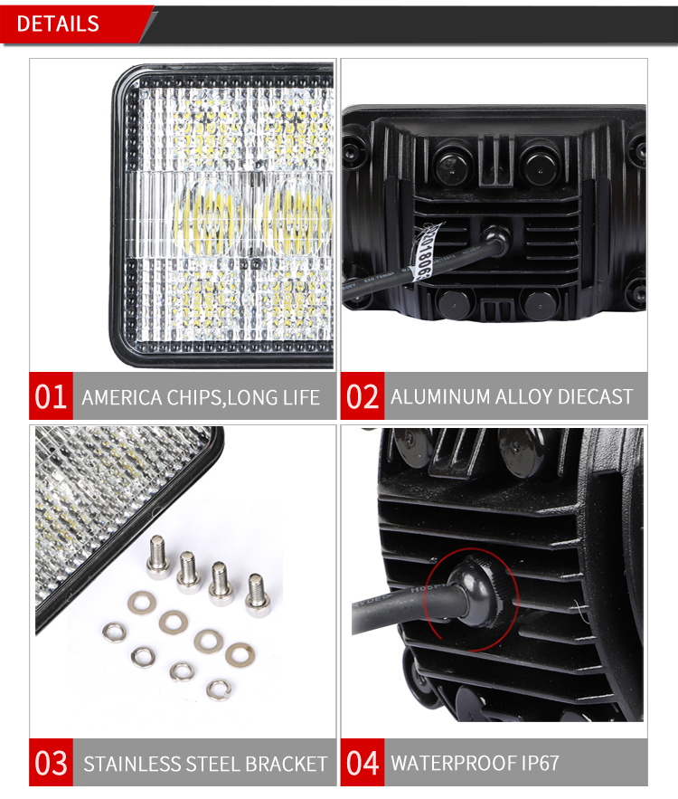 Agricultural auto vehicle 4 x 6 inch hi/lo beam 60W led headlamp for tractor truck car accessories