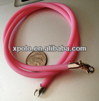 2014 wholesale Fashion strong candy color rubber cord necklace/candy pink rubber necklace with clasp